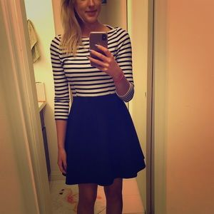 ✨Kate Spade✨ Navy/White striped Fit & Flare Dress